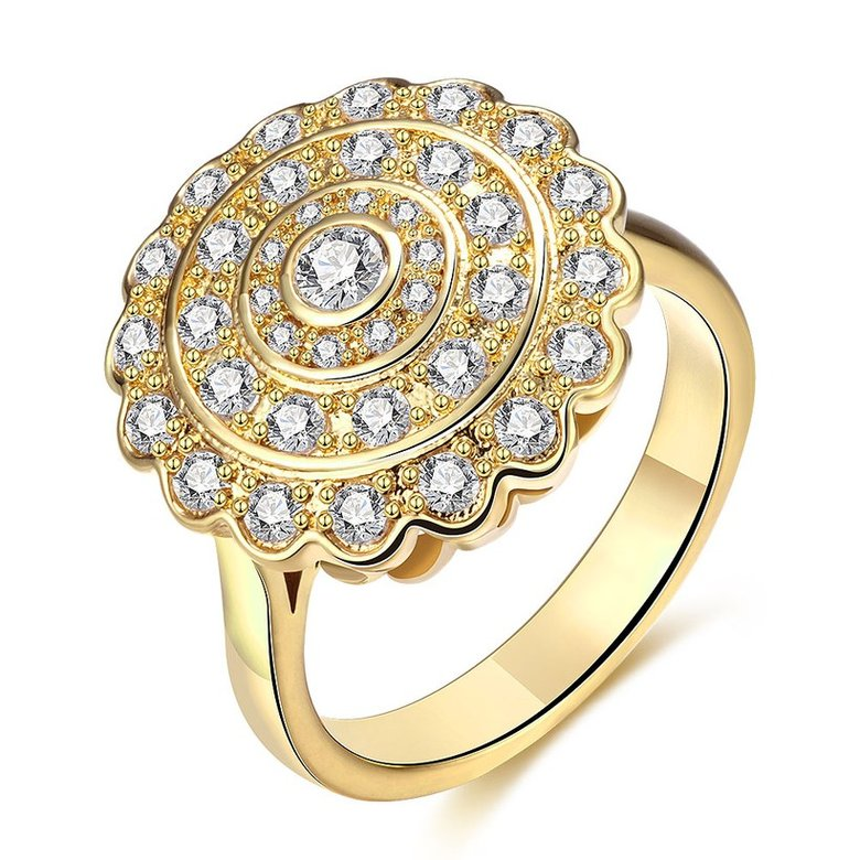 Wholesale Classic 24K Gold Round White CZ Ring TGGPR896
