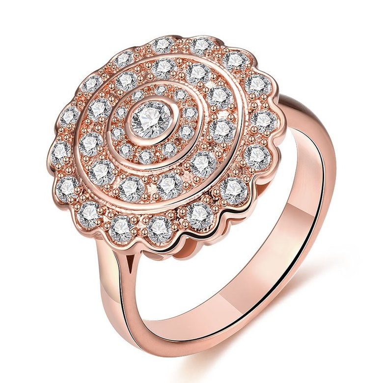 Wholesale Classic Rose Gold Round White CZ Ring TGGPR903