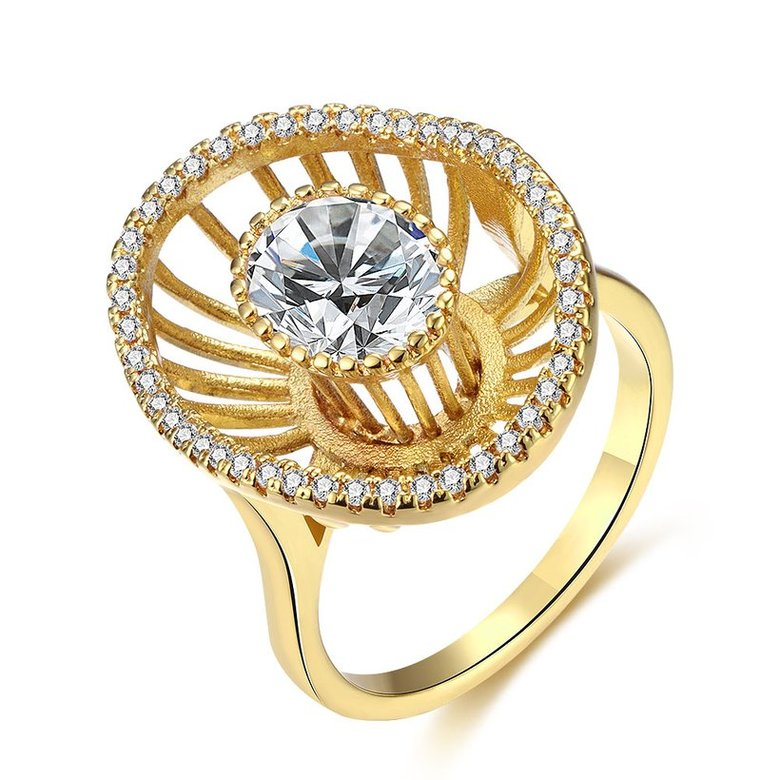 Wholesale Trendy 24K Gold Geometric White CZ Ring TGGPR917