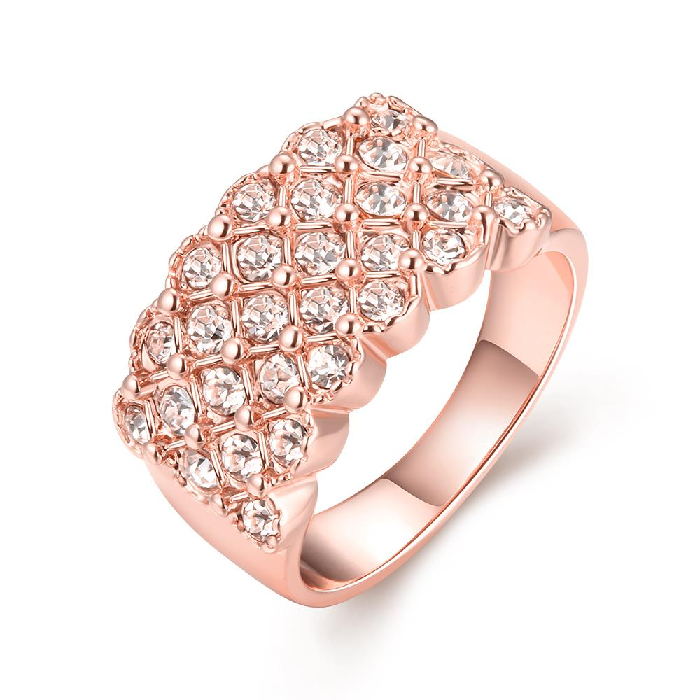 Wholesale Classic Rose Gold Plant White Rhinestone Ring TGGPR995