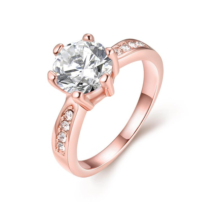 Wholesale Classic Rose Gold Plant White Rhinestone Ring TGGPR1092