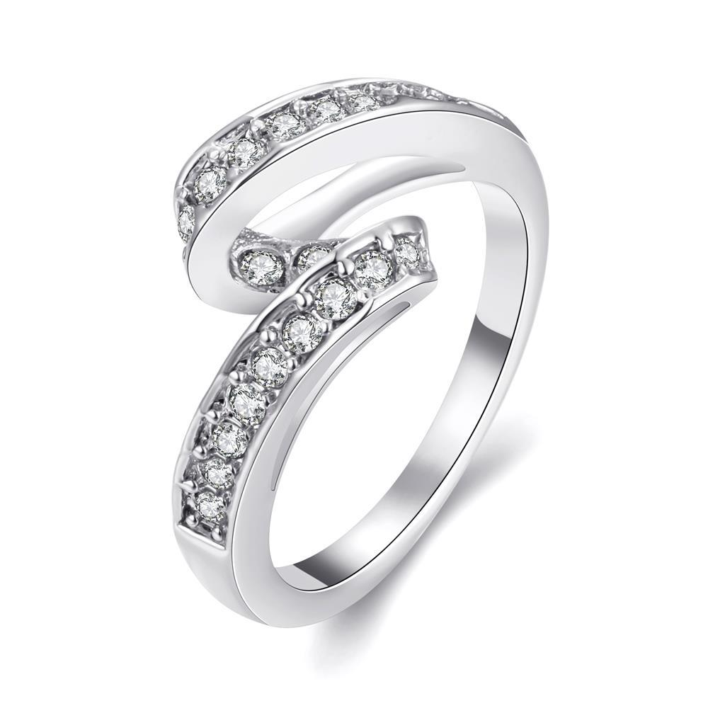 Wholesale Trendy Platinum Geometric White Rhinestone Ring TGGPR1154