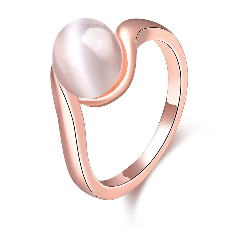 Wholesale Romantic Rose Gold Round White Stone Ring TGGPR1484