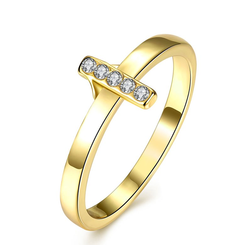 Wholesale Trendy Antique Gold Cross White Crystal Ring TGGPR167