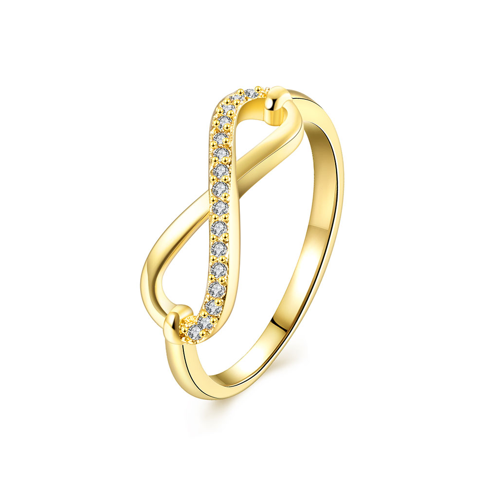 Wholesale Trendy Antique Gold White CZ Ring TGGPR253