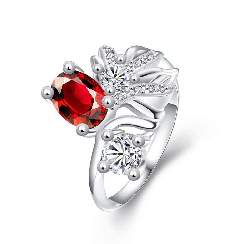 Wholesale Trendy Silver Geometric Red CZ Ring TGSPR108