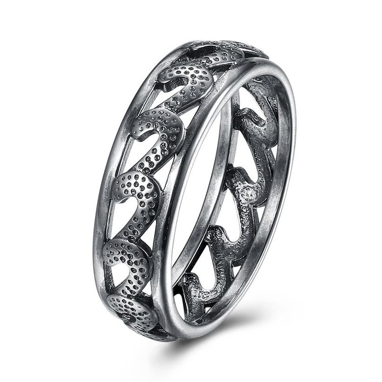 Wholesale Trendy Antique Silver Geometric Ring Newly Punk style Wavy Pattern Personality Party Ring unisex Jewelry TGVGR004