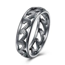 Trendy Antique Silver Geometric Ring Newly Punk style Wavy Pattern Personality Party Ring unisex Jewelry