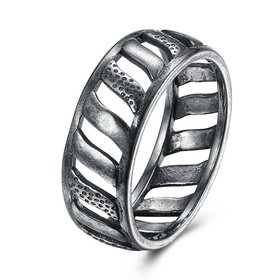 Ancient Silver Color Buddha Ring Art Retro Man Punk Jewelry Motorcycle Tire Pattern Women Birthday Gifts Couple Jewelry