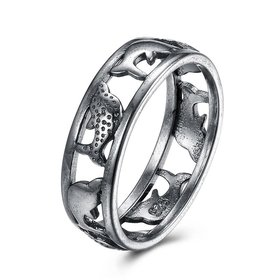 Hot Sale Fashion Vintage Silve Dolphin rings Happy Women In Love Silver Plated Ring Accessories for unisex gift